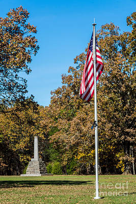 Photograph - Meriwether Lewis Monument And American Flag - Natchez Trace by Debra Martz