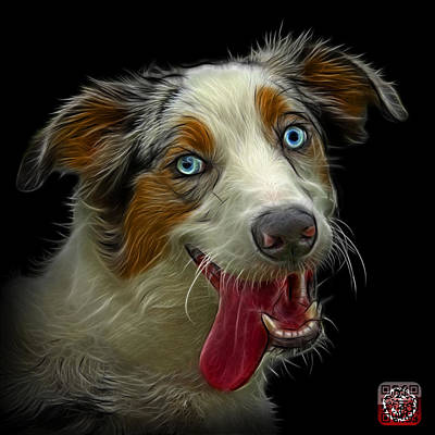 Painting - Merle Australian Shepherd - 2136 - Bb by James Ahn