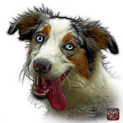Painting - Merle Australian Shepherd - 2136 - Wb by James Ahn