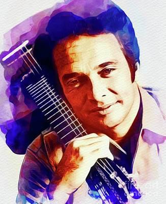 Music Paintings - Merle Haggard, Country Music Legend by Esoterica Art Agency