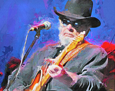Musicians Mixed Media Royalty Free Images - Merle Haggard country music legend Royalty-Free Image by Mal Bray