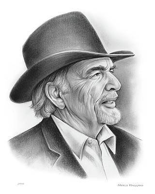 American Songwriter Wall Art - Drawing - Merle Haggard by Greg Joens