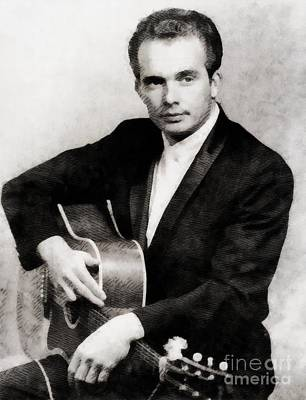 Rock And Roll Paintings - Merle Haggard, Music Legend by John Springfield by John Springfield