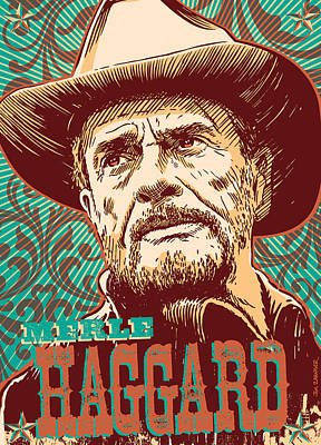 Nashville Digital Art - Merle Haggard Pop Art by Jim Zahniser