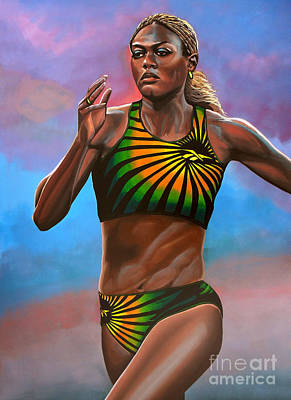 Celebrities Painting - Merlene Ottey by Paul Meijering