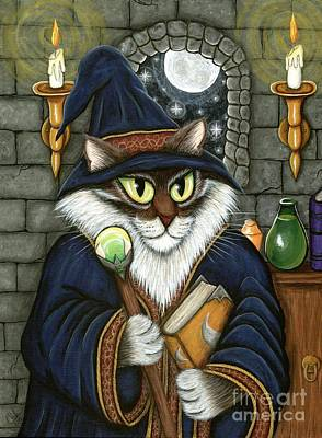 Painting - Merlin The Magician Cat by Carrie Hawks