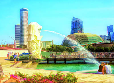 Digital Art - Merlion Park Singapore by Joseph Hollingsworth