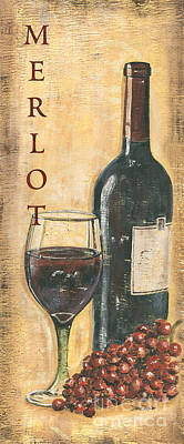 Wine Bottle Painting - Merlot Wine And Grapes by Debbie DeWitt