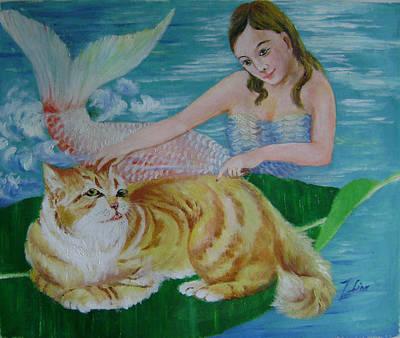 Mermaid And Cat Art Print by Lian Zhen
