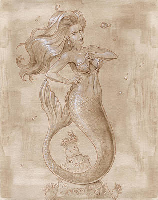 Sepia Ink Mixed Media - Mermaid And Clown Fishes by Dream Pigment