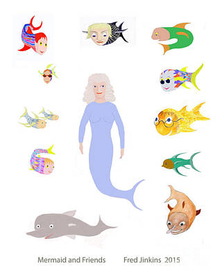 Mermaid And Friends Original by Fred Jinkins