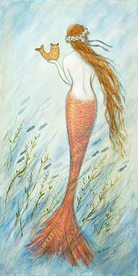 Catfish Drawing - Mermaid And Her Catfish, Goldie by Tina Obrien