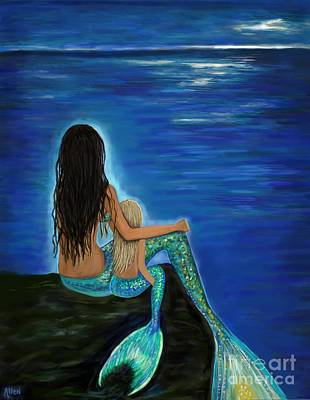 Painting - Mermaid And Her Daughter by Leslie Allen