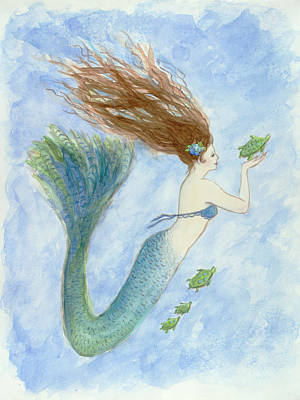Seaturtle Painting - Mermaid And Her Little Seaturtles by Tina Obrien