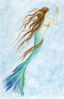 Sandpiper Drawing - Mermaid And Her Seahorse by Tina Obrien
