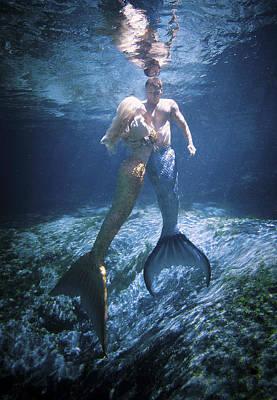 Mermaid And Merman Art Print