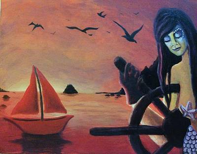 Painting - Mermaid And Sailboat At Sea by Katerina Roy