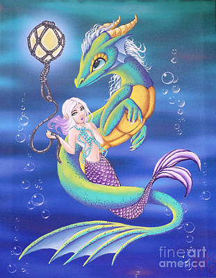 Painting - Mermaid And Sea Dragon by Mary Hoy