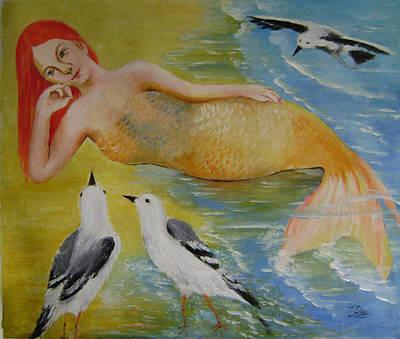 Mermaid And Seagulls Art Print by Lian Zhen