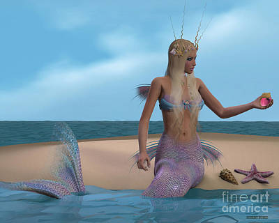Enchanter Digital Art - Mermaid And Seashells by Corey Ford