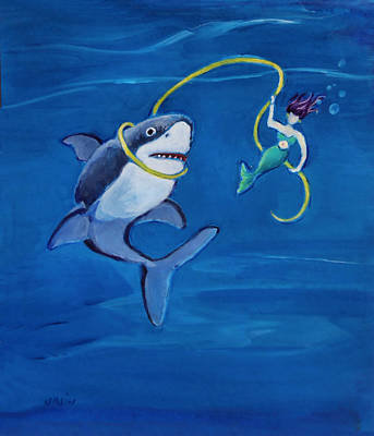 Painting - Mermaid And Shark by Diane Ursin