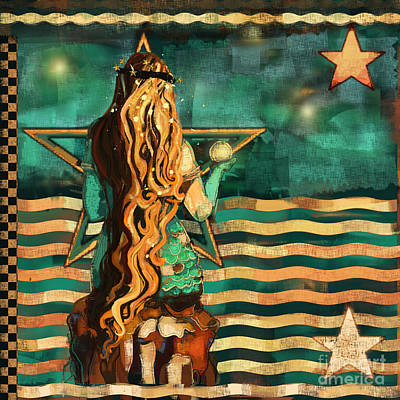 Mermaid Mixed Media - Mermaid And Stars By The Sea  by Carrie Joy Byrnes