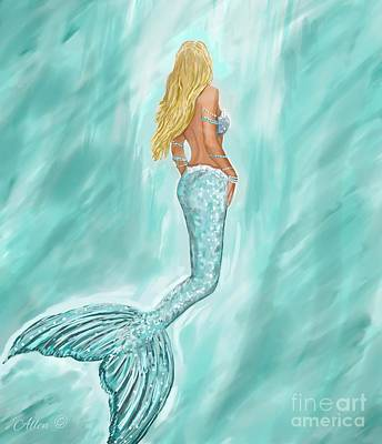Painting - Mermaid Aquamarine by Leslie Allen