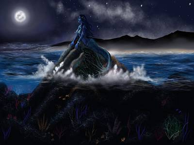Modern Sophistication Beaches And Waves - Mermaid at night by Veronica Castaneda