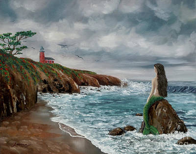 Painting - Mermaid At Santa Cruz by Laura Iverson