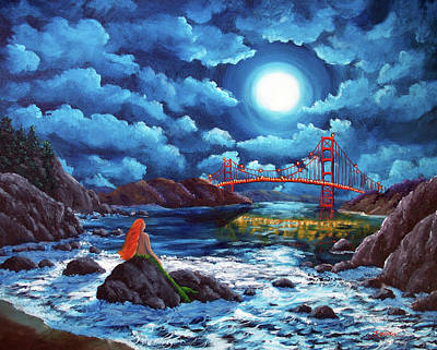Golden Gate Painting - Mermaid At The Golden Gate Bridge  by Laura Iverson
