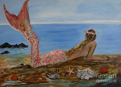 Mermaid Tail Painting - Mermaid Beauty by Leslie Allen