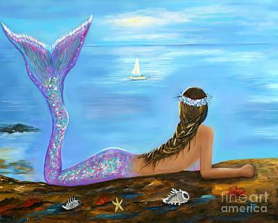 Painting - Mermaid Beauty On The Beach by Leslie Allen
