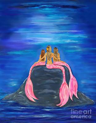 Painting - Mermaid Beauty On The Rocks by Leslie Allen