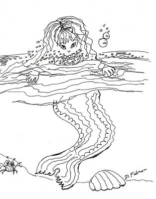 Drawing - Mermaid Bubblebath Bw by Denise Fulmer