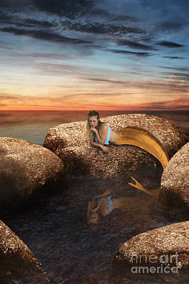 Digital Art - Mermaid By The Rock Pool by Clayton Bastiani