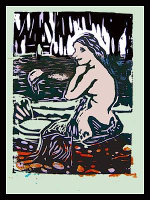 Digital Art - Mermaid Combing Her Hair - No II by Adam Kissel