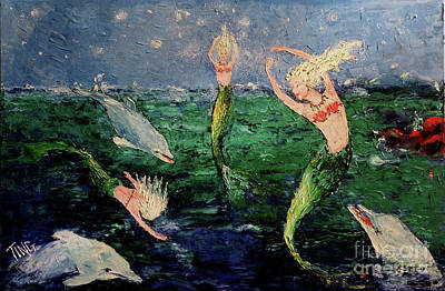 Mermaid Dance With Dolphins Art Print by Doris Blessington