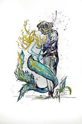 Mermaid Diver Art Print