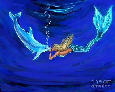 Painting - Mermaid Dolphin Loves by Leslie Allen