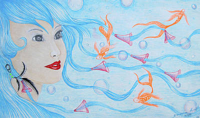 Impressionist Mixed Media - Mermaid Dreams by Dwayne Hamilton