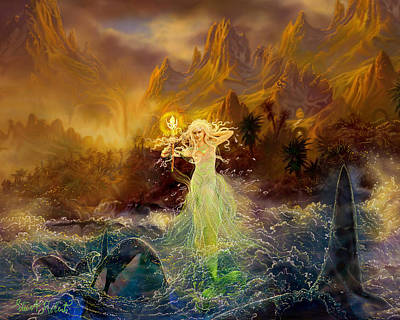 Print featuring the painting Mermaid Enchantress by Steve Roberts