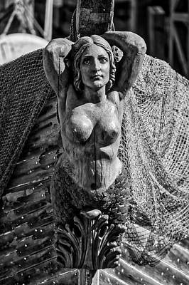 Photograph - Mermaid Figurehead In Black And White by Garry Gay
