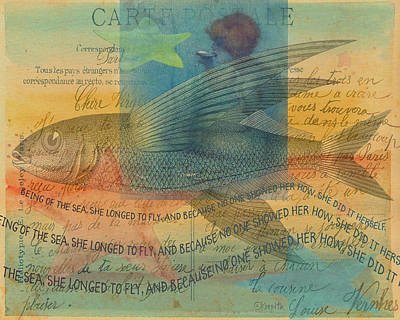 Mixed Media - Mermaid Flying Fish Inspirational Sea Quote by Rebecca Korpita