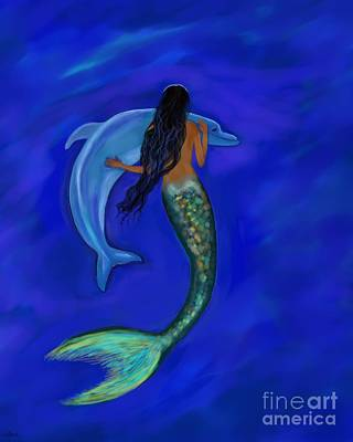 Painting - Mermaid Friendship by Leslie Allen