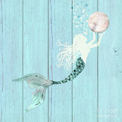 Of Sirens Painting - Mermaid Gathering Pearls Creamy White Siren Holds A Huge Pearl by Tina Lavoie