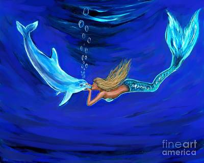 Of A Siren Painting - Mermaid Giving Dolphin Loves by Leslie Allen