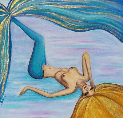 Mermaid Golden Hair Art Print by Beryllium Canvas