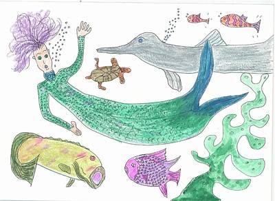 Mermaid Hello Art Print