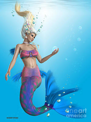 Enchanter Digital Art - Mermaid In Aqua by Corey Ford