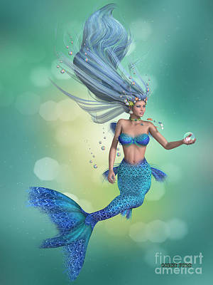 Enchanter Digital Art - Mermaid In Blue by Corey Ford